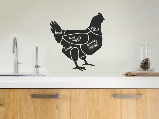 Krijtbord sticker van het kip - Kip krijtbord sticker - Technische vleesdelen kip - www.bbqfriends.nl