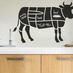 Krijtbord sticker van het koe - Koe krijtbord sticker - Technische vleesdelen koe - www.bbqfriends.nl