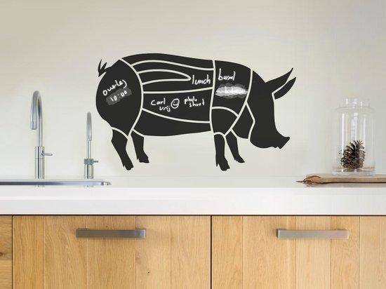 Krijtbord sticker van het varken - Varken krijtbord sticker - Technische vleesdelen varken - www.bbqfriends.nl
