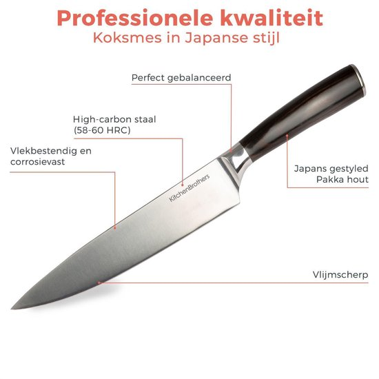 Top 10 koksmessen - RVS Koksmes - Universeel Japans Keukenmes - Stainless Steel Chef Mes - www.BBQfriends.nl